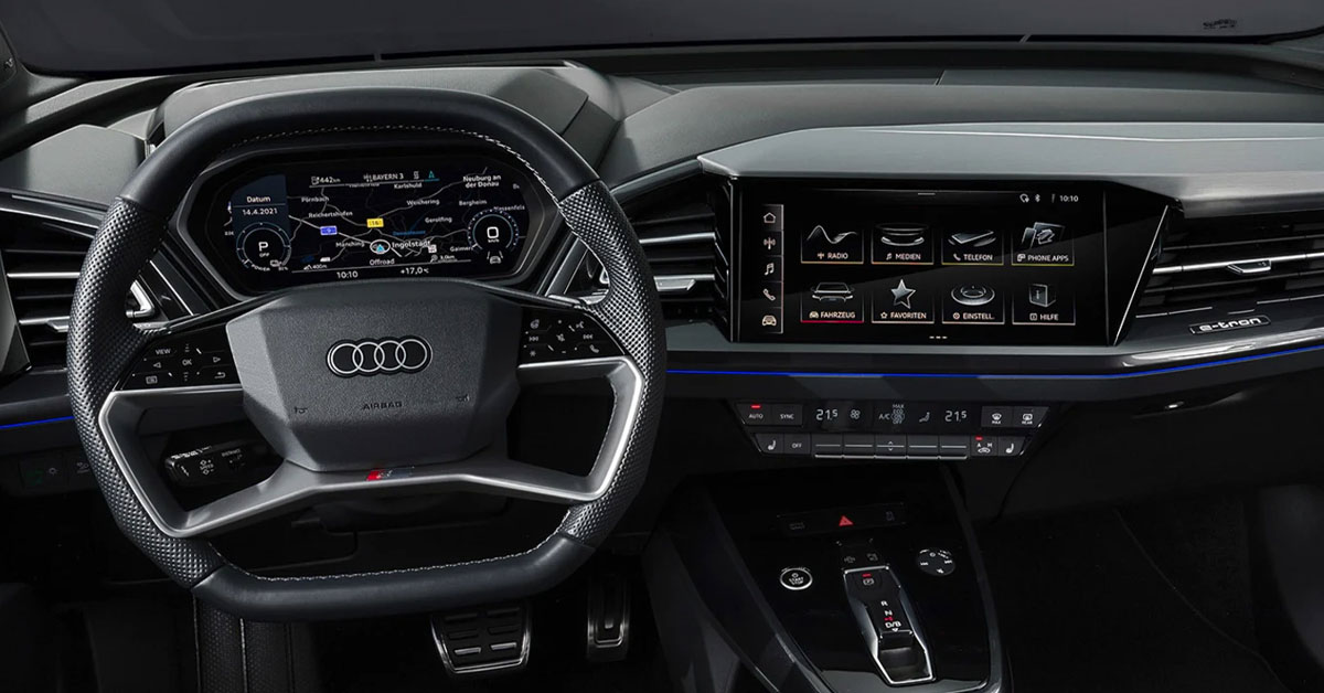 An image of the interior dashboard of the Audi Q4 e-tron SUV